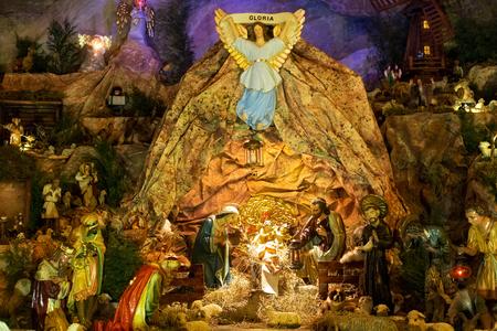 POLAND, KRAKOW - JANUARY 01, 2015: Christmas nativity scene inside the catholic monastery Church of Sts. Bernardine of Siena in Krakow. Poland.
