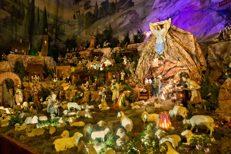 lamb of god: POLAND, KRAKOW - JANUARY 01, 2015: Christmas nativity scene inside the catholic monastery Church of Sts. Bernardine of Siena in Krakow. Poland.