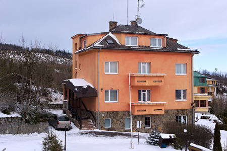 asl: One of the building in the  Horny Smokovec. Is a ski village in the Slovakia. Located in the mountains of the High Tatras at an altitude of 950 meters a.s.l. Editorial