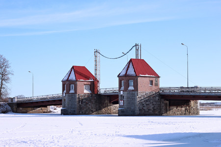POLESSK, KALININGRAD REGION, RUSSIA - JANUARY 30, 2011: Old german movable bridge known as Eagle (Adler Brucke) through Deima river in the city of Polessk (Labiau). The bridge was built in 1919-1922. Editorial