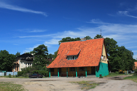 Old former german building in the Morskoe (Pillkoppen) village in the Curonian Spit National Park. Russia. Editorial