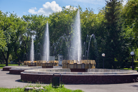 Old fountain in the city park of the Petropavl (russian name Petropavlovsk), Kazakhstan. The city is situated in northen Kazakhstan close to the border with Russia.