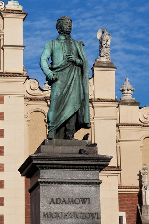 essayist: Adam Mickiewicz Monument in Krakow. Is one of the best known bronze monuments in Poland. The statue of Adam Mickiewicz, the greatest Polish Romantic poet of the 19th century, was unveiled on 1898. Editorial