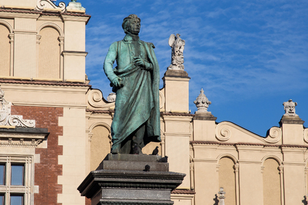Adam Mickiewicz Monument in Krakow. Is one of the best known bronze monuments in Poland. The statue of Adam Mickiewicz, the greatest Polish Romantic poet of the 19th century, was unveiled on 1898. Editorial
