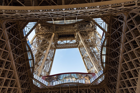 rivets: View of the detail of the Eiffel Tower in Paris. France. The Eiffel Tower was constructed from 1887-1889 as the entrance to the 1889 Worlds Fair by engineer Gustave Eiffel.