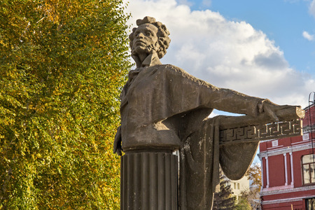 SAMARA, RUSSIA - OCTOBER 12, 2016: A concrete monument to the famous Russian poet and writer Alexander Pushkin in the public Pushkin Square. The sculpture was installed in 1985.