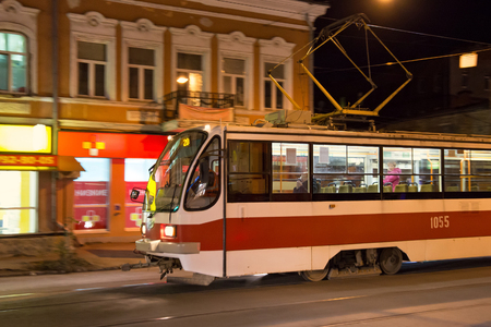 traction: SAMARA, RUSSIA - OCTOBER 12, 2016: Tram 71-405 in Samara city. 71-405 is russian passenger one-sided four-axle high-floor tramcar with an asynchronous traction drive manufactured by Uraltransmash.