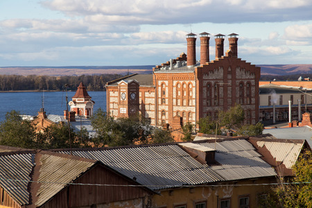 famous industries: View of the old Zhigulevsky brewery in Samara city, Russia. The factory is one of the oldest breweries in Russia, was built in 1881 by Austrian citizen Alfred von Vacano.