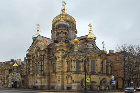 View of stauropegial orthodox Assumption Church on Vasilievsky Island of St. Petersburg, Russia. The church was built in 1895-1897 by the cellar of the Kiev-Pechersk Lavra.