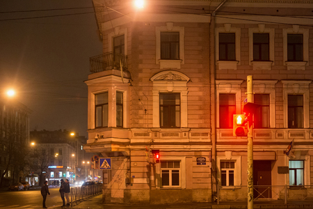 SAINT PETERSBURG, RUSSIA - NOVEMBER 03, 2014: Profitable house on Vvedenska St. Built in 1879 by L. Shperer. In this house from 1892 to 1918 lived a famous Russian scientist-physiologist Ivan Pavlov.