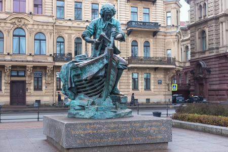 peter the great: SAINT PETERSBURG, RUSSIA - NOVEMBER 04, 2014: The bronze sculpture of Peter the Great as the tsar-carpenter. Installed at the Admiralty embankment in 1996. Copy of the sculpture by Leopold Bernshtam.