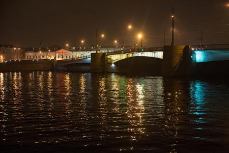 SAINT PETERSBURG, RUSSIA - NOVEMBER 03, 2014: Night view of Tuchkov Bridge. Is the bridge across Malaya Neva in Saint Petersburg. Tuchkov bridge connects Vasilievsky Island and Petrogradsky Island.