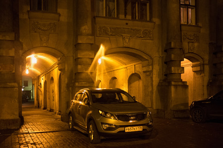 leningrad: SAINT PETERSBURG, RUSSIA - NOVEMBER 03, 2014: Unknown car near the entance of profitable house of the First Russian Insurance Company. It was built in 1913-1914 by architects J. Benois and L. Benois.