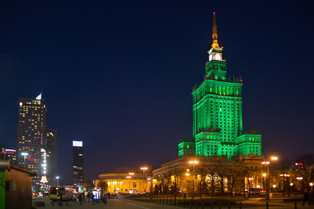 WARSAW, POLAND - JANUARY 01, 2016: Night view of the Palace of Culture and Science. Constructed in 1955 is the tallest building in Poland. It is was designed by Soviet architect Lev Rudnev. Editorial