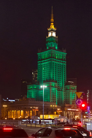 WARSAW, POLAND - JANUARY 02, 2016: Night view of the Palace of Culture and Science. Constructed in 1955 is the tallest building in Poland. It is was designed by Soviet architect Lev Rudnev.