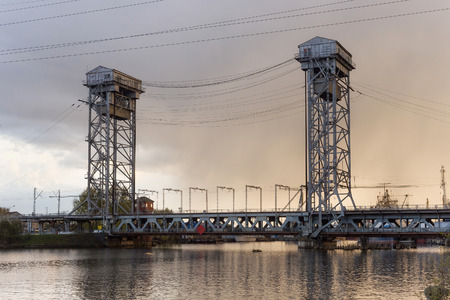 Double-deck drawbridge over the Pregolya River in Kaliningrad (Konigsberg), Russia. The bridge was built in the 1913-1926, during the Second World War was damaged and was reconstructed in 1959-1965. Stock Photo