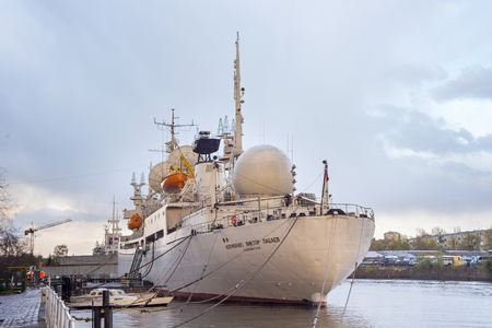 KALININGRAD, RUSSIA - APRIL 25, 2016: Research vessel of space communication Cosmonaut Viktor Patsayev moored on the embankment of Peter the Great in Kaliningrad. Museum of the World Ocean.