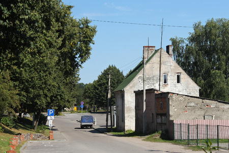 View of the old german shabby buildings in Pravdinsk (prior Friedland), Russia. Pravdinsk was founded in 1312 by the Teutonic Knights. The city is located 53 km. of Kaliningrad (Konigsberg).