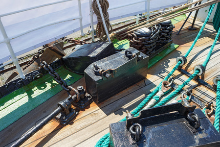 Chains and fastening as part of rigging on a sailing ship. Banco de Imagens