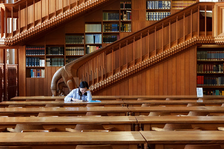 LEUVEN, BELGIUM - SEPTEMBER 05, 2014: Unknown young student girl is sitting with book in the library of the Catholic University in Leuven. Nowadays Leuven has a large Dutch-speaking student population