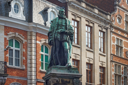 LEUVEN, BELGIUM - SEPTEMBER 05, 2014: Statue of the Justus Lipsius (1547 - 1606) on the Lipsiusstraat st. Lipsius was a Flemish philologist, philosopher and humanist, founder of Neostoism.