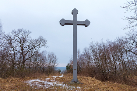 BEREGOVOE, KALININGRAD OBLAST, RUSSIA -  MARCH 30, 2017: Memorial cross on the place of the alleged martyrdom of the famous Christian Saint Adalbert of Prague (known also as Vojtech) in 23 April 997. Editorial