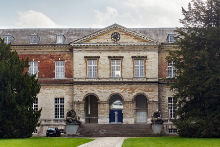 LEUVEN, BELGIUM - SEPTEMBER 05, 2014: Main entrance of the Pauscollege (Popes College). The College is a dorm for students of the Catholic University. Editorial