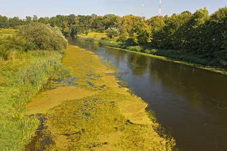 View of the Lyna (another name Lava) river in Pravdinsk (prior Friedland), Russia. The river in northern Poland as well as in Russia's Kaliningrad Oblast. The Lyna is a tributary of the Pregolya River