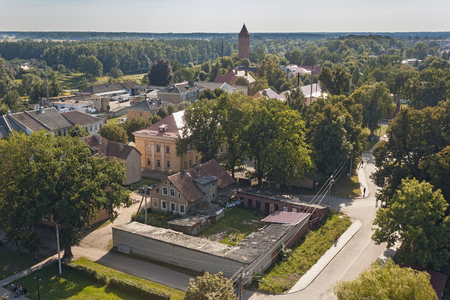 Panorama of the center of Pravdinsk (german name of town is Friedland) with old buildings, Kaliningrad Oblast, Russia. The city was founded in 1312 by the Teutonic Knights and located near Kaliningrad