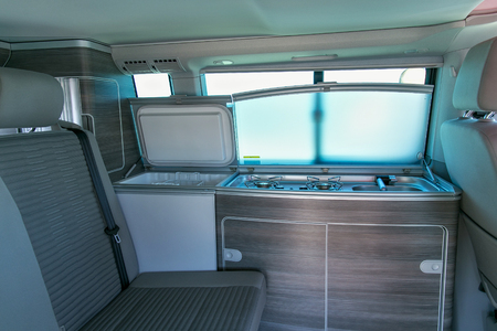 ZELENOGRADSK, KALININGRAD REGION, RUSSIA - JULY 29, 2017: Inside view of the modern car Volkswagen Multivan Transporter (Bulli).