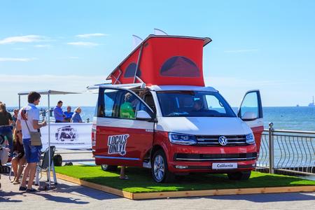 ZELENOGRADSK, KALININGRAD REGION, RUSSIA - JULY 29, 2017: Modern Volkswagen Multivan Transporter (Bulli) on the coast of the Baltic Sea in the famous resort of Zelenogradsk at summer time. Stock Photo - 104749474