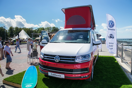 ZELENOGRADSK, KALININGRAD REGION, RUSSIA - JULY 29, 2017: Modern Volkswagen Multivan Transporter (Bulli) on the coast of the Baltic Sea in the famous resort of Zelenogradsk at summer time.