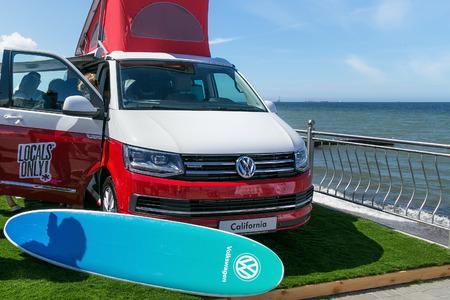 ZELENOGRADSK, KALININGRAD REGION, RUSSIA - JULY 29, 2017: Modern Volkswagen Multivan Transporter (Bulli) on the coast of the Baltic Sea in the famous resort of Zelenogradsk at summer time.