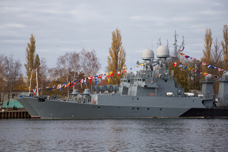Parchim-class anti-submarine russian corvette in harbor.