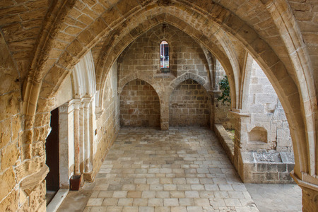 Abbey of Bellapais in the Northern Cyprus. Bellapais Abbey is the ruin of a monastery built by Canons Regular in the 13th century near the Kyrenia (Girne).