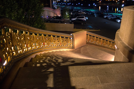 Night view of the one of the town staircase in the city center in Astana, Kazakhstan. Stok Fotoğraf
