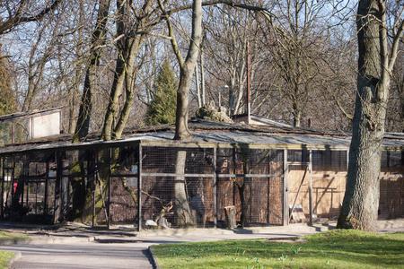 KALININGRAD, RUSSIE - 29 MARS 2014 : Cages pour oiseaux dans le zoo de Kaliningrad au printemps. Éditoriale