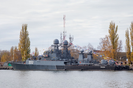 BALTIYSK, KALININGRAD REGION, RUSSIA  - NOVEMBER 04, 2018: Parchim-class anti-submarine russian corvette Kalmykia in Baltiysk harbor.