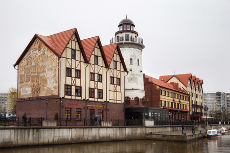 KALININGRAD, RUSSIA - APRIL 25, 2017: Small district known as The Fishing Village. The place situated near of the River Pregel and it's an attempt recreates a slice of the city's pre-war quarter.