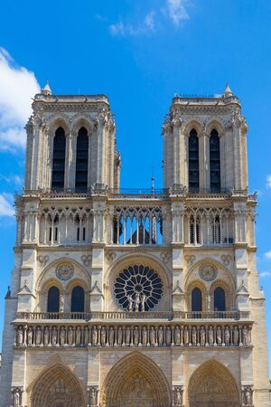 View of the original Notre-Dame de Paris church, before the fire lit up in april 2019. Is a medieval Catholic cathedral and is considered to be one of the finest examples of French Gothic architecture