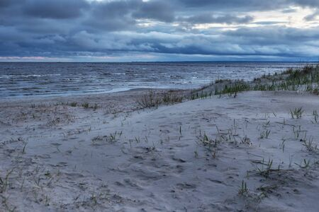 View of the Parnu Bay in evening in overcast whether. It a bay in the northeastern part of the Gulf of Livonia (Gulf of Riga of Baltic Sea), in southern Estonia.