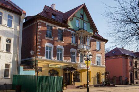 ZELENOGRADSK, KALININGRAD REGION, RUSSIA - APRIL 02, 2019: Old historical german building on the Kurortnyy prospekt in famous resort Zelenogradsk (formerly known as Cranz) on the Baltic Sea coast.