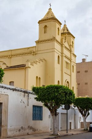 View of the roman-catholic Santiago el mayor de Nador church in historical center of town. The Church was built by spaniards in early of XX century in Nador, Morocco.