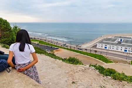 Beautiful view point on the Mediterranean coast in central part of Tangier city in Northern Morocco.
