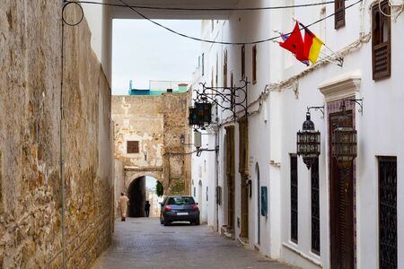 View of the one of the old streets in the Tangier Medina quarter in Northern Morocco. A medina is typically walled, with many narrow and maze-like streets.