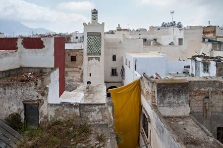 View of the Tetouan Medina quarter in Northern Morocco with old buildings roofs.