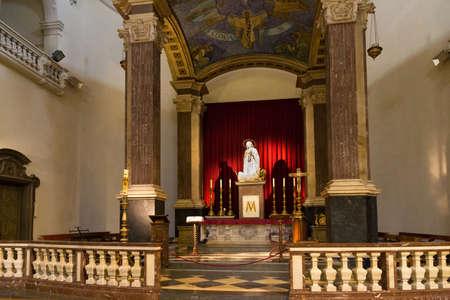 BARCELONA, SPAIN - MAY 16, 2017: Interior of the catholic Church of Our Lady of Bethlehem (Iglesia de La Madre de Dios de Belen in spanish).