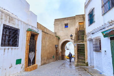 TETOUAN, MOROCCO - MAY 24, 2017: View of the old walls of Tetouan Medina quarter in Northern Morocco. A medina is typically walled, with many narrow and maze-like streets.