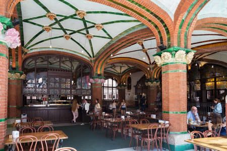 BARCELONA, SPAIN - MAY 15, 2017: Street cafe in the Palace of Catalan Music (The Palau de la Musica Catalana in catalan). Is a concert hall designed in modernista style and built between 1905 - 1908.