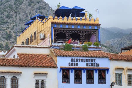CHEFCHAOUEN, MOROCCO - MAY 28, 2017: Beautiful view of the restaurant Casa Aladin in Chaouen. The city is noted for its buildings in shades of blue and that makes town very attractive to visitors. Редакционное
